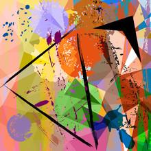 Composition abstraite de fond, avec des coups et des éclaboussures