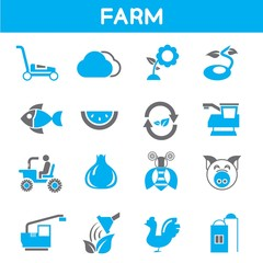 farm and agriculture icons, blue theme color