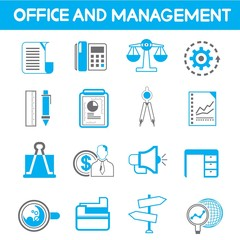 office and management icons, blue theme color