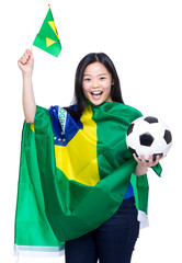 Cheering brazilian soccer supporter