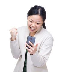 Asia woman got surprise message from mobile