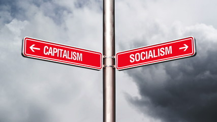 Capitalism or Socialism, conceptual video with opposite signs
