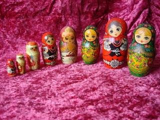 Винтаж русские матрёшки, бархатная скатерть