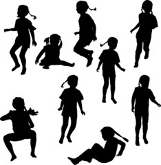 nine child silhouettes collection isolated on white