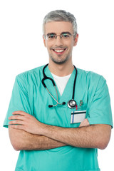 Smiling young doctor with stethoscope