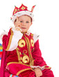 little boy dressed as a king.