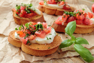 Bruschetta with fresh tomato and herbs