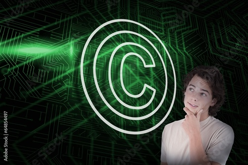 Composite image of copyright symbol and thinking casual man