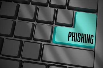 Phishing on black keyboard with blue key