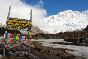 Annapurna base camp sign
