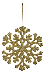 gold snowflake shape decoration isolted on white