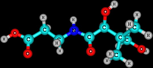 Pantothenic acid (vitamin B5) molecular structure on black