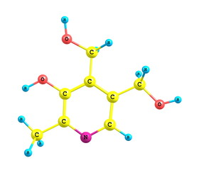 Pyridoxine (vitamin B6) molecular structure on white background