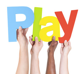 Multiethnic Arms Raised Holding Text Play