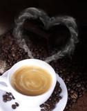Obraz na płótnie Kaffeetasse mit Rauchherz