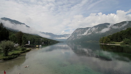 Bohinj Lake with Julian Alps in the background - pan