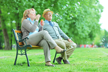 Elderly couple blowing bubbles in park