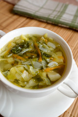 Schi of fresh young cabbage - Russian national dish