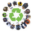 Multiethnic People Using Digital Devices with Recycle Symbol