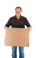 Mann mit Karton