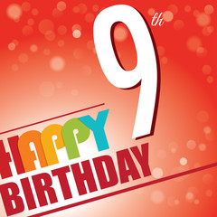 9th Birthday retro party invite/template.Bright/colorful-Vector
