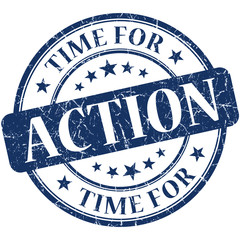 Time for action blue round grungy vintage isolated rubber stamp