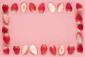 イチゴ ピンク フレーム 背景素材