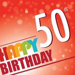 50th Birthday retro party invite/template.Bright/colorful