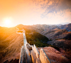 China great wall at sunset of  in winter