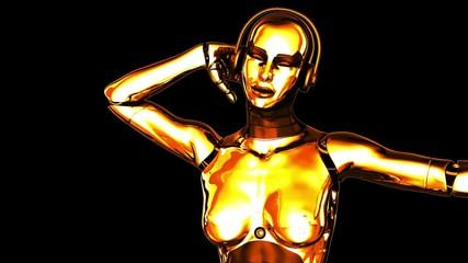 Dancing Golden Robot Girl (Alpha Channel)