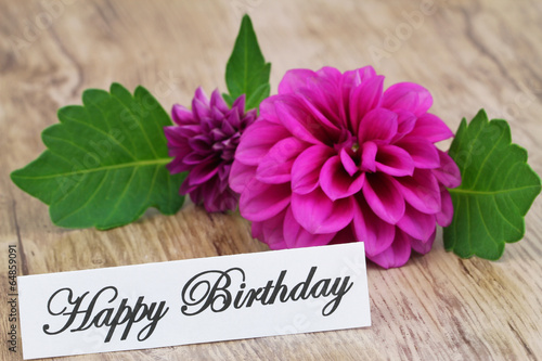 Fotobehang Dahlia Happy Birthday card with purple dahlia