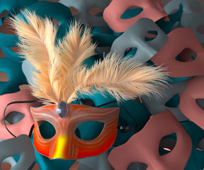 Red carnival mask with feathers and masks on background