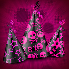 Goth party hats with decorations on pink, vector illustration