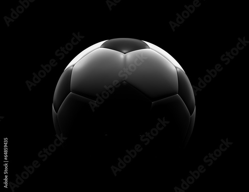 canvas print picture Soccer ball on black background