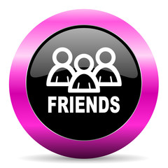 friends pink glossy icon