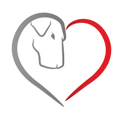 Icon of a dog's head within a red heart