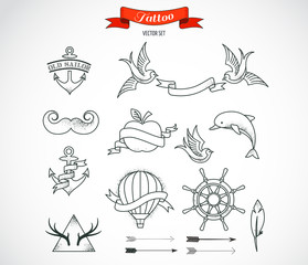 Set of modern vector Tattoo Art