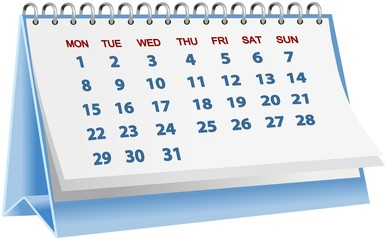 Blue desk block calender isolated on white