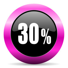 30 percent pink glossy icon
