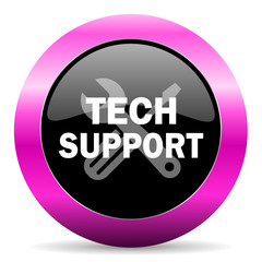 technical support pink glossy icon