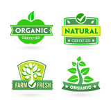 Set of organic-bio labels poster
