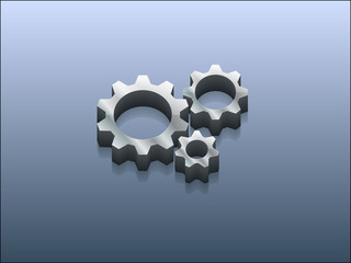 3d Vector illustration of gears icon