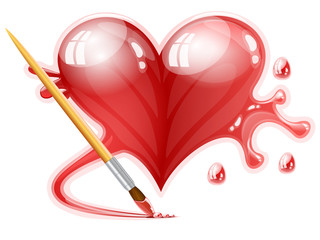 Vector illustration of a brush painting a heart