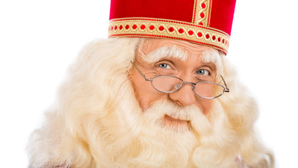 Sinterklaas close up on white background