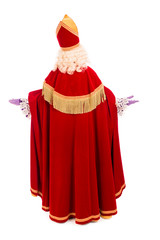 Back of Sinterklaas on white background