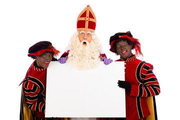 Sinterklaas and zwarte pieten with whiteboard