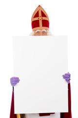 Sinterklaas holding placard