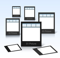 Vector black photo frames on shiny background