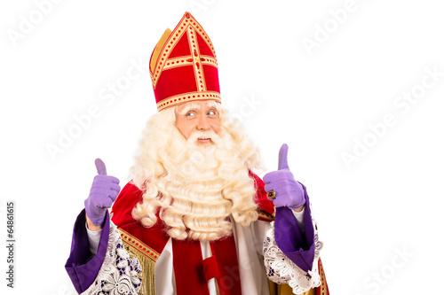 Leinwanddruck Bild Happy Sinterklaas on white background