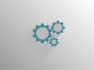 Flat long shadow icon of gears